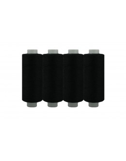 Shan® All Purpose Polyester Sewing Thread - Pack of 4 reel - Black